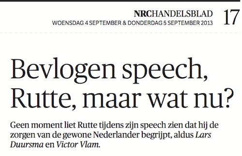 Debatrix in NRC Handelsblad - Bevlogen speech, Rutte, maar wat nu?