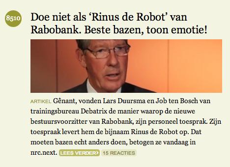 Debatrix op de voorpagina van NRC.nl
